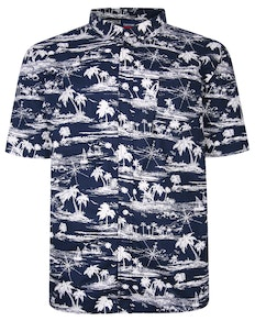 Espionage Palm Print Shirt Navy
