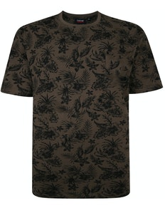 Espionage Hibiskus Print T-Shirt Khaki