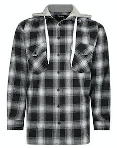 Bigdude Checked Flannel Shirt with Hood Black