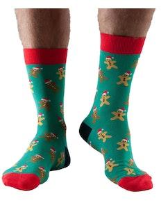 Doris & Dude Gingerbread Man Christmas Socks Green