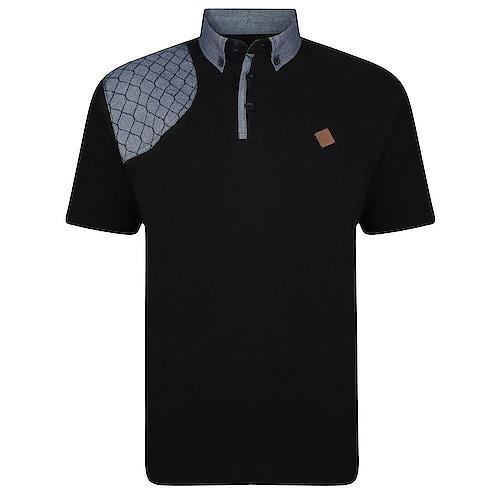 KAM Honeycomb Panel Polo Shirt Black