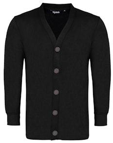 Bigdude Brushed Fleece Cardigan Black Tall