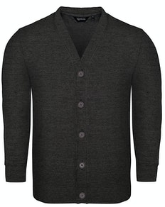 Bigdude Brushed Fleece Cardigan Charcoal Tall