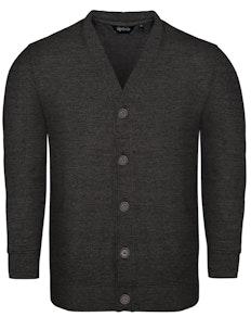 Bigdude Brushed Fleece Cardigan Charcoal