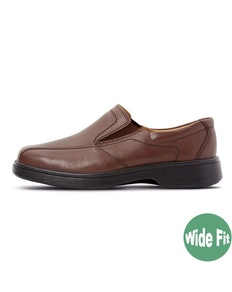 DB Shoes Chris Slip-on Lederschuh Extra Breit Braun