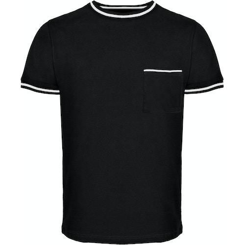 Bigdude Kontrastsaum T-Shirt Schwarz Tall Fit
