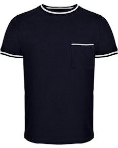 Bigdude Kontrastsaum T-Shirt Marineblau Tall Fit