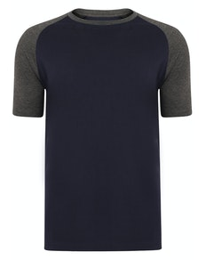 Bigdude Contrast Raglan Sleeve T-Shirt Navy/Charcoal Tall