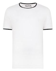 Bigdude Contrast Ringer T-Shirt White Tall