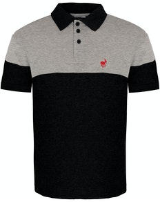 Bigdude Cut & Sew Polo Shirt Grey/Black Tall