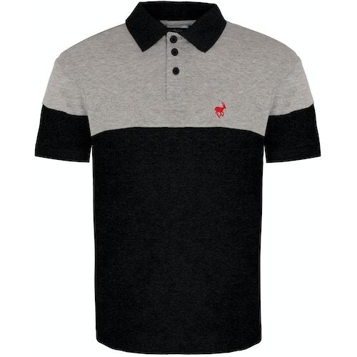 Bigdude Cut & Sew Polo Shirt Grey/Black Tall