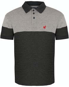 Bigdude Cut & Sew Polo Shirt Grey/Charcoal Tall