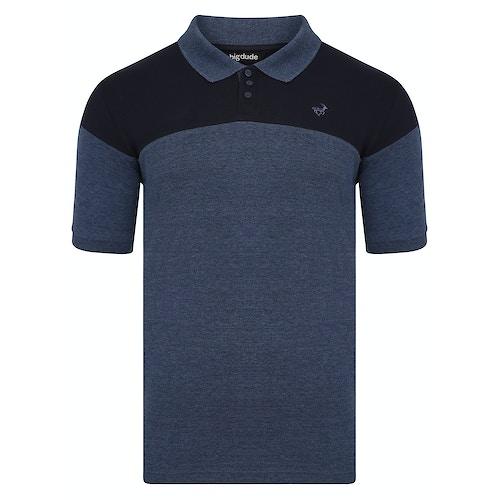 Bigdude Cut & Sew Polo Shirt Navy/Denim