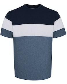 Bigdude Cut & Sew T-Shirt Marineblau/Jeansblau Tall Fit