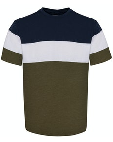 Bigdude Cut & Sew T-Shirt Marineblau/Olivgrün Tall Fit