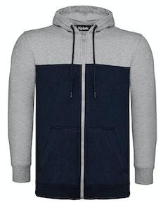 Bigdude Cut & Sew Full Zip Hoody Grey/Navy