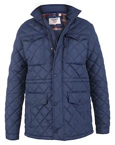 D555 Dalwood Quilted Jacket With Zip Away Hood Navy