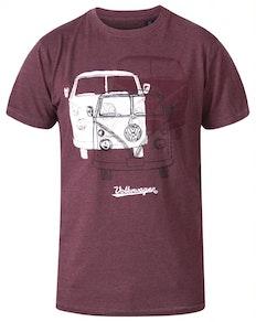 D555 Hughes Offizielles lizenziertes VW-T-Shirt Rot Marl