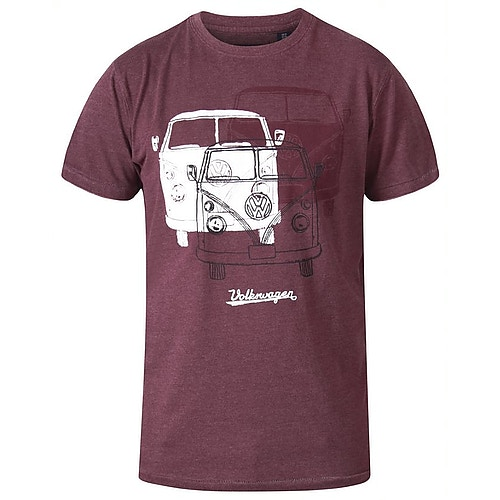 D555 Hughes Official Licensed VW Print T-Shirt Red Marl