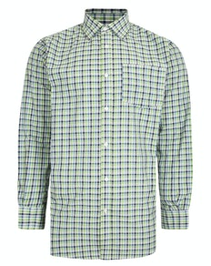 Bigdude Woven Long Sleeve Checked Shirt Green/White