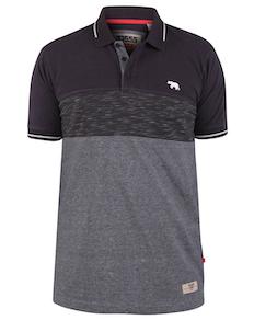 D555 Buxhall Cut & Sew Piqué Poloshirt Grau/Pflaume
