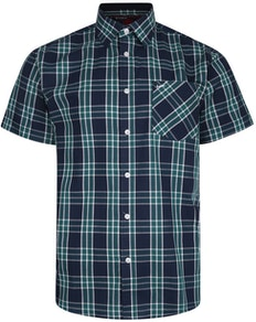 KAM Casual Check Short Sleeve Shirt Navy