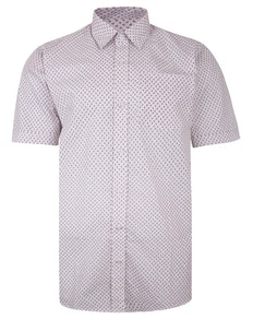 Bigdude Short Sleeve Cotton Woven Paisley Pattern Shirt White/Red