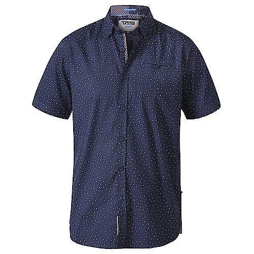 D555 Derwent Micro Print Short Sleeve Shirt Navy