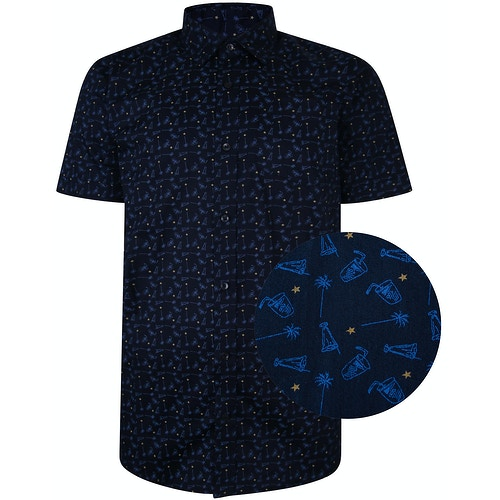 Bigdude Short Sleeve Cotton Woven Cocktails Shirt Navy