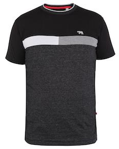 D555 Beacon Cut & Sew T-Shirt Schwarz/Grau/Weiß