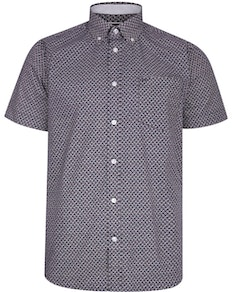 KAM Paisley Print Short Sleeve Shirt Navy