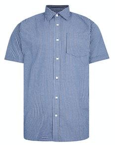 Bigdude Woven Short Sleeve Check Shirt Blue/Navy