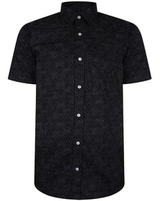 Bigdude Short Sleeve Cotton Woven Shirt Black/Red Tall