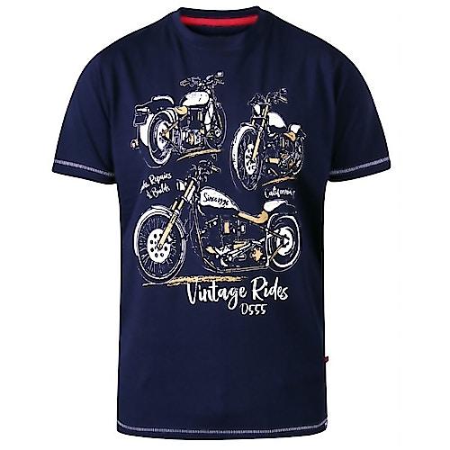 D555 Ellis Motorbike Print T-Shirt Marineblau