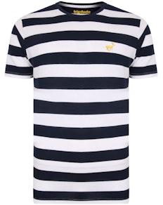 Bigdude Logo Striped T-Shirt Navy/White