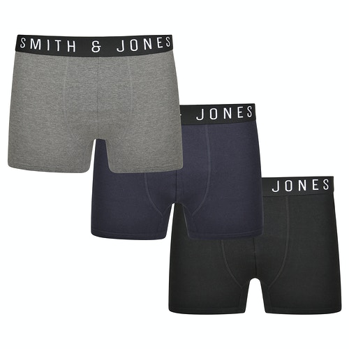 Smith & Jones Essential 3 Pack Boxer Shorts