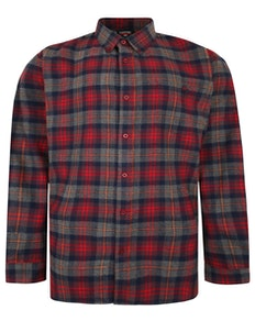 Espionage Long Sleeve Brushed Check Shirt Red/Grey