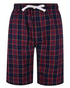 Bigdude karierte Pyjama Shorts Marineblau/Rot