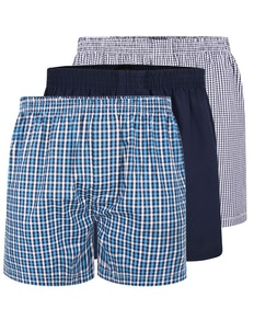Bigdude Woven Boxer Shorts 3 Pack Ocean Blue