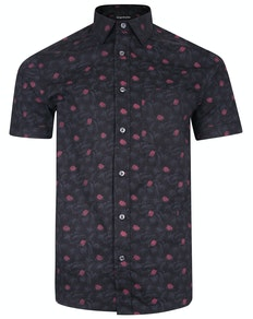 Bigdude Short Sleeve Cotton Woven Floral Shirt Black/Red