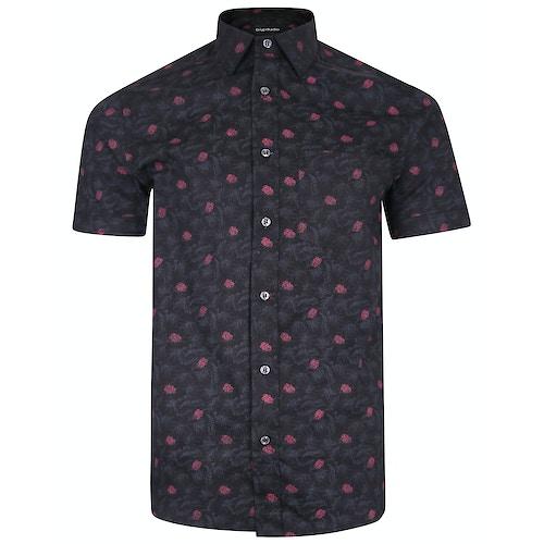 Bigdude Short Sleeve Cotton Woven Floral Shirt Black/Red