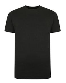 Bigdude Basic T-Shirt mit Kontraststreifen Schwarz