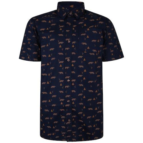 Bigdude Short Sleeve Cotton Woven Bear Print Shirt Navy/Brown