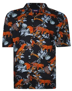 Espionage Tiger Print Shirt Black