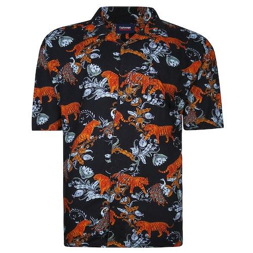 Espionage Tiger Print Shirt Black