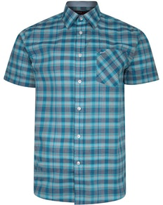 KAM Casual Check Short Sleeve Shirt Aqua