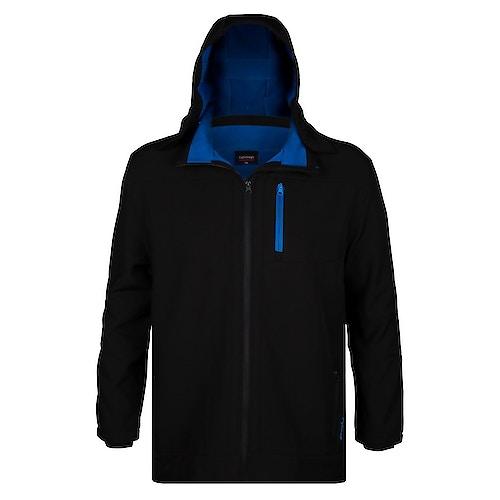 Espionage Soft Shell Jacke mit Kapuze Schwarz/Blau