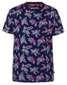 D555 Fraser Hawaiian Print T-Shirt Navy