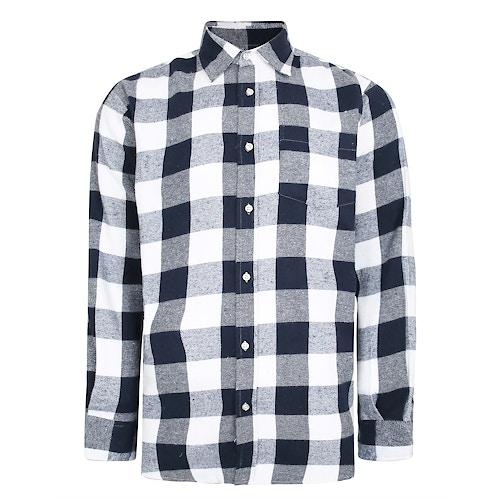 Bigdude Long Sleeve Checked Shirt Navy