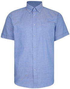 KAM Dobby Weave Short Sleeve Shirt Blue